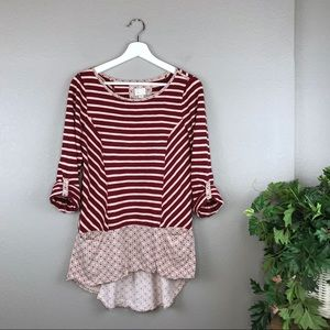 Anthropologie Postmark Red Striped Fairley Tunic
